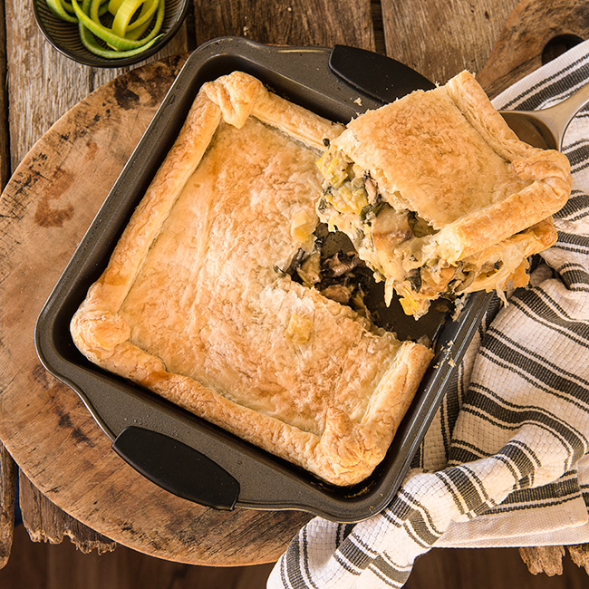 Leek Mushroom and Spinach Pie