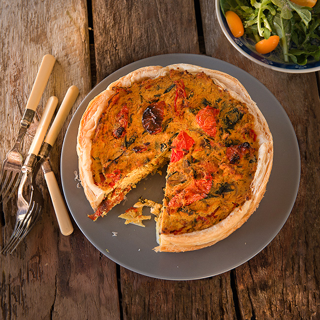 Spinach Shiitake and Tomato Quiche